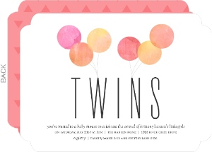 Watercolor Balloon Celebration Twin Baby Shower Invitation