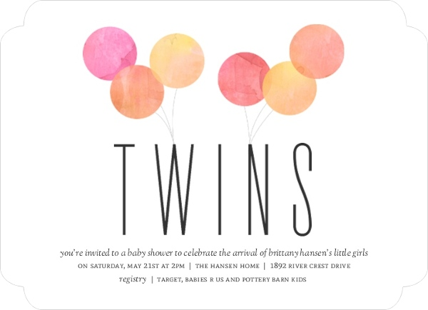 Watercolor Balloon Celebration Twin Baby Shower Invitation Twins