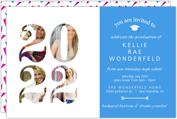 Bold Purple Photo Year Graduation Invitation