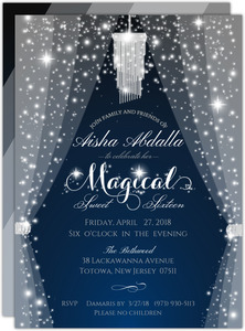 Sparkly & Magical Sweet Sixteen Birthday Invitation