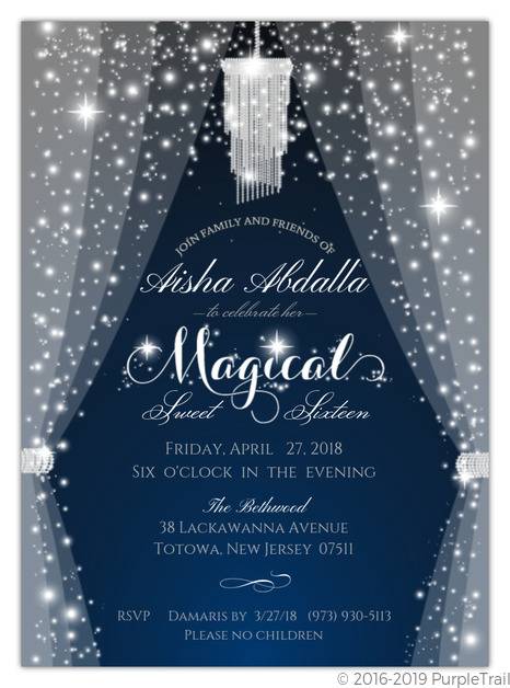 sparkly magical sweet sixteen birthday invitation sweet 16