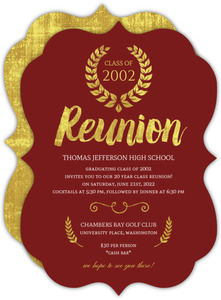 Beautiful Faux Gold Foil Class Reunion Invitation