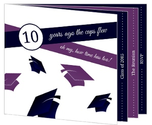 Purple and Navy Graduation Caps Class Reunion Invitation