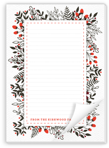Winter Leaves And Berries Christmas Notepad