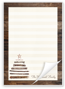 Rustic Wood Tree Christmas Notepad