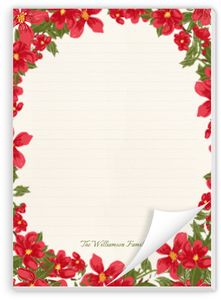 Red & Green Poinsettia Christmas Notepad