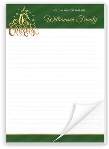 Faux Gold & Stripes Christmas Notepad