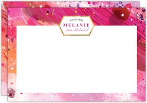 Pink Artistic Paint Personalized Notecard