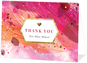 Pink Artistic Paint Personalized Thank You Card