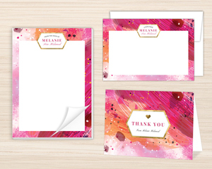 Pink Artistic Paint Personalized Stationery Set