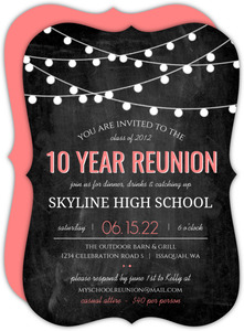 Modern Chalkboard Lights High School Reunion Invitation