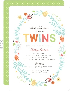 Floral Spring Frame Twin Baby Shower Invitation