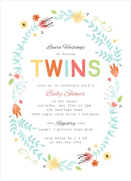 Floral Spring Frame Twin Baby Shower Invitation Twins Baby Shower