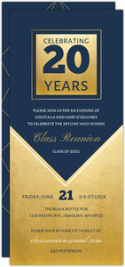 Geometric Navy and Faux Gold Class Reunion Invitation