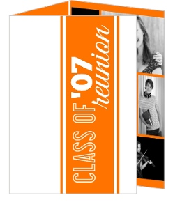 Modern Orange and White Class Reunion Invitation