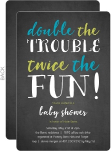 Chalkboard Double Trouble Twin Baby Shower Invitations
