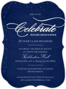 Silver Foil Celebrate  Class Reunion Invitation