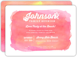 Bright Pink Watercolor Family Reunion Invitation