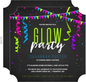Sweet 16 Invitations Neon Glow Party Streamers Birthday Invitation