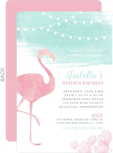 Watercolor Pink Flamingo Birthday Party Invitation