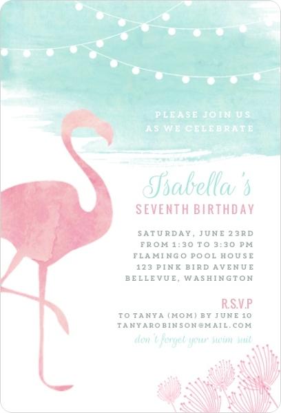 watercolor pink flamingo birthday party invitation kids birthday