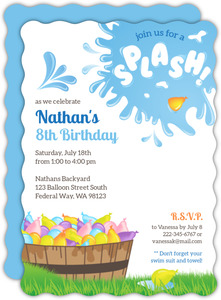 Splash Water Balloon Birthday Invitation