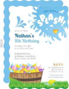 Kids birthday invitations kids birthday party invitations splash water balloon birthday invitation filmwisefo Image collections