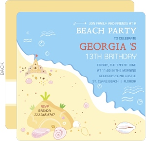 Sandy Beach Birthday Party Invitation