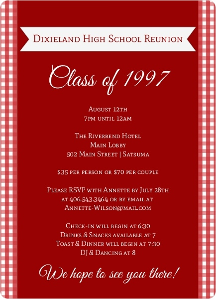 High School College Class Reunion Invitations
