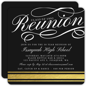 Fancy Gold Foil 30 Year Class Reunion Invitation