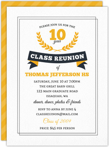 Gray & Yellow Stripe Class Reunion Invitation
