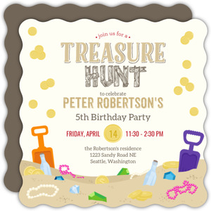 Sand Treasure Hunt Birthday Party Invitation
