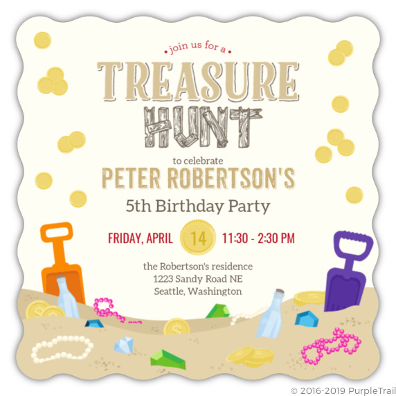 Sand Treasure Hunt Birthday Party Invitation Kids Birthday Invitations