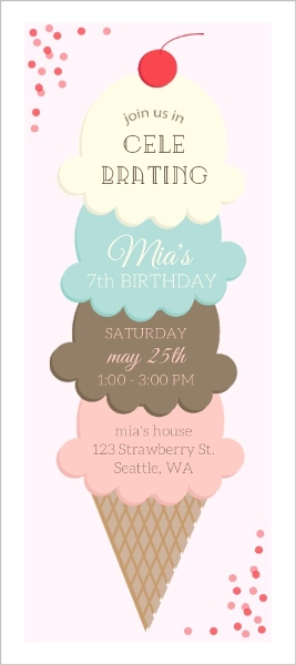 Creamy Ice Cream Stack Birthday Party Invitation Kids Birthday