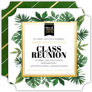 Tropical Greenery Watercolor Class Reunion Invitation