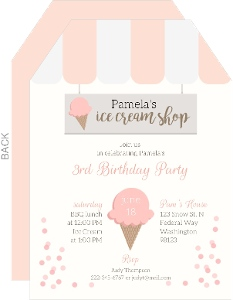 Pink Ice Cream Shop Birthday Invitation