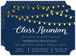 Gold Foil Hanging Lights Class Reunion Invitation