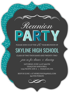 Turquoise Celebration Class Reunion Invitation