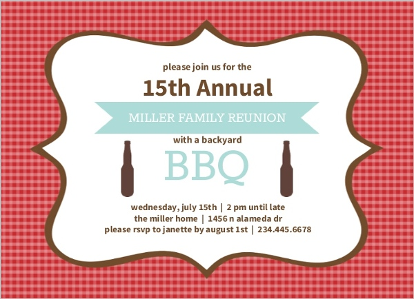Red Gingham Frame Family Reunion Invitation  Reunion Invitations