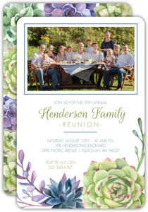 Watercolor Succulents Family Reunion Invitation