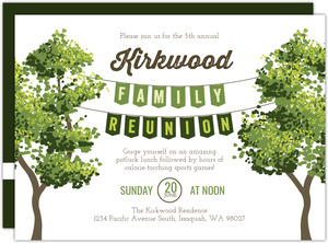 Green Hanging Banner Family Reunion Invitation