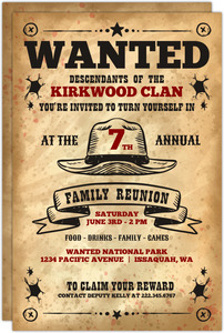 Vintage Wanted Family Reunion Invitation
