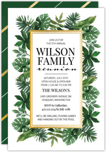 Watercolor Leaves Family Reunion Invitation