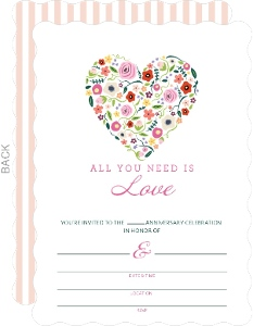 Floral Heart 10Th Anniversary Fill In The Blank Invitation