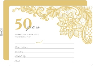 Elegant Lace Golden Anniversary Fill In The Blank Invitation