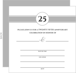 Silver Monogram Fill In The Blank Anniversary Party Invite