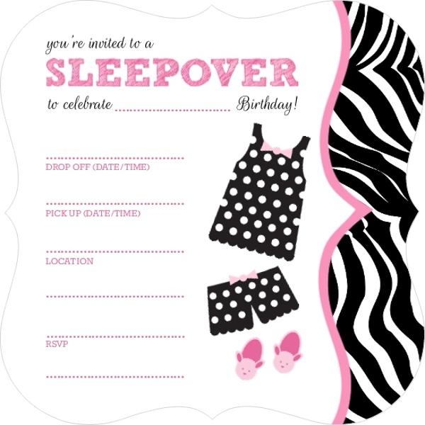 polka dot pajamas fill in the blank slumber party invitation blank