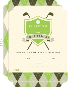 Elegant Golf Partee Fill In The Blank Birthday Invitation