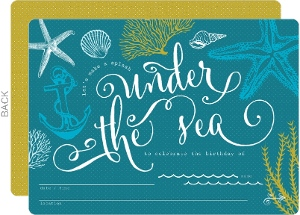 Teal Sketchy Under The Sea Fill In The Blank Birthday Invitation