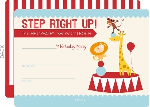 Red And Blue Circus Fill In The Blank Birthday Party Invitation
